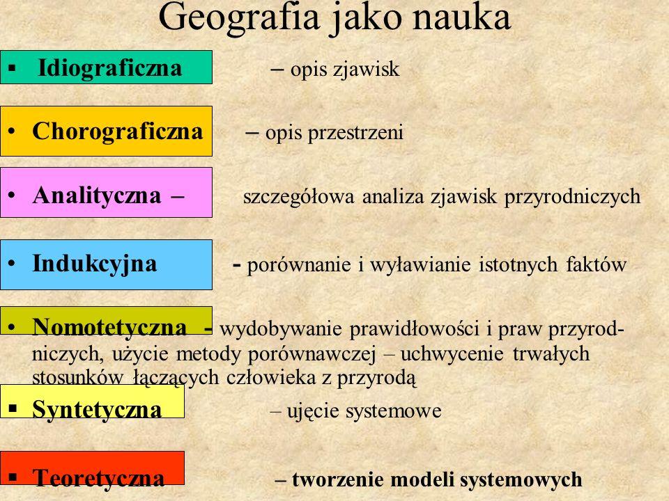 Geografia jako nauka Idiograficzna – opis zjawisk Chorograficzna – opis przestrzeni Analityczna – szczegółowa analiza zjawisk przyrodniczych Indukcyjna - porównanie i wyławianie istotnych faktów Nomotetyczna - wydobywanie prawidłowości i praw przyrod- niczych, użycie metody porównawczej – uchwycenie trwałych stosunków łączących człowieka z przyrodą Syntetyczna – ujęcie systemowe Teoretyczna – tworzenie modeli systemowych