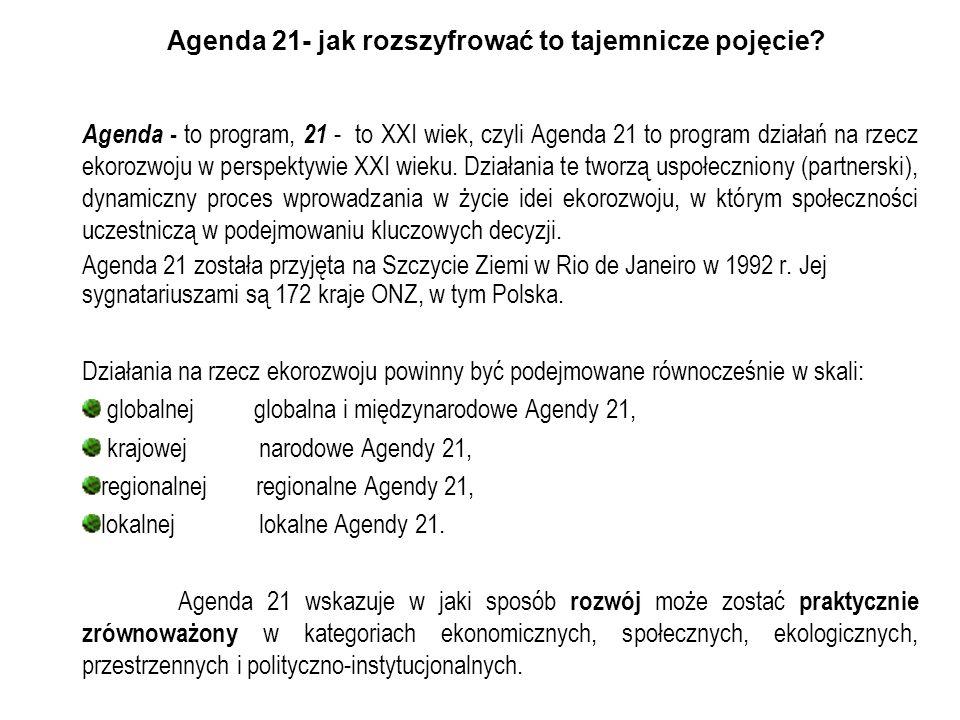 Agenda 21- jak rozszyfrować to tajemnicze pojęcie? Agenda - to program, 21 - to XXI wiek, czyli Agenda 21 to program działań na rzecz ekorozwoju w per