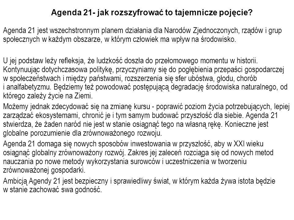 Agenda 21- jak rozszyfrować to tajemnicze pojęcie? Agenda 21 jest wszechstronnym planem działania dla Narodów Zjednoczonych, rządów i grup społecznych