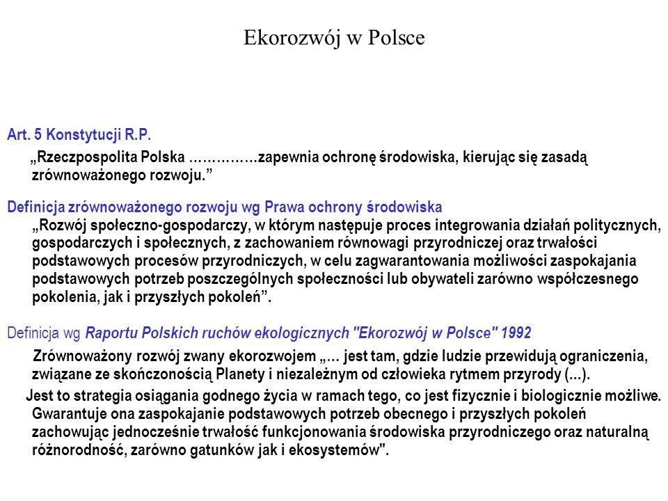 Ekorozwój w Polsce Art. 5 Konstytucji R.P. Rzeczpospolita Polska ……………zapewnia ochronę środowiska, kierując się zasadą zrównoważonego rozwoju. Definic