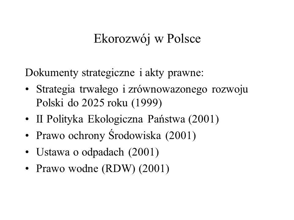 Ekorozwój w Polsce Dokumenty strategiczne i akty prawne: Strategia trwałego i zrównowazonego rozwoju Polski do 2025 roku (1999) II Polityka Ekologiczn