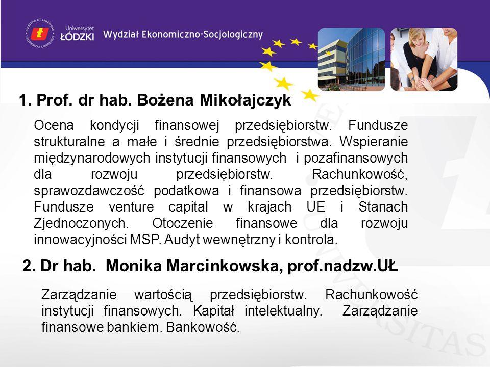 1. Prof. dr hab. Bożena Mikołajczyk Ocena kondycji finansowej przedsiębiorstw. Fundusze strukturalne a małe i średnie przedsiębiorstwa. Wspieranie mię