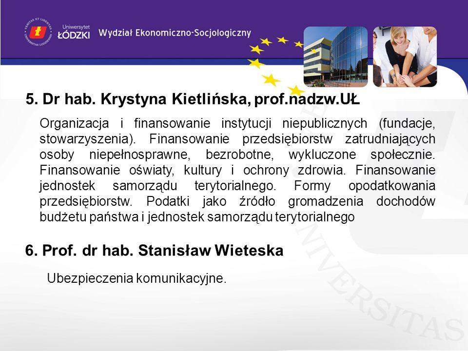 5. Dr hab. Krystyna Kietlińska, prof.nadzw.UŁ 6. Prof. dr hab. Stanisław Wieteska Ubezpieczenia komunikacyjne. Organizacja i finansowanie instytucji n