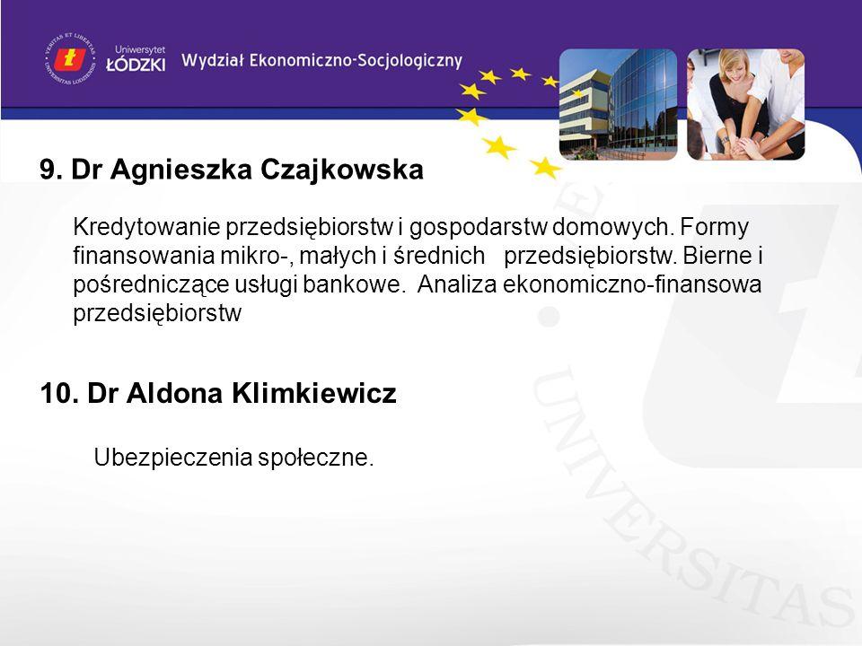 9. Dr Agnieszka Czajkowska Kredytowanie przedsiębiorstw i gospodarstw domowych. Formy finansowania mikro-, małych i średnich przedsiębiorstw. Bierne i