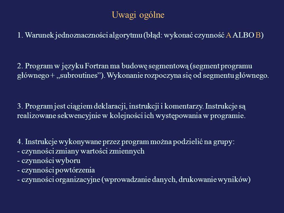 Uwagi ogólne 1. Warunek jednoznaczności algorytmu (błąd: wykonać czynność A ALBO B) 2. Program w języku Fortran ma budowę segmentową (segment programu