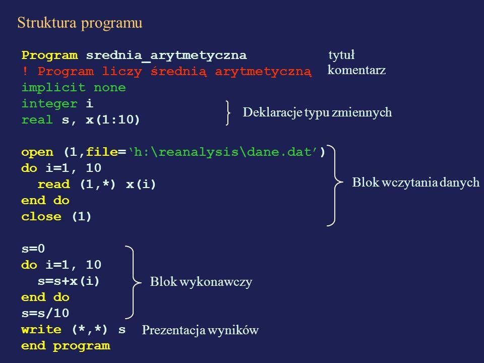 Struktura programu Program srednia_arytmetyczna ! Program liczy średnią arytmetyczną implicit none integer i real s, x(1:10) open (1,file=h:\reanalysi