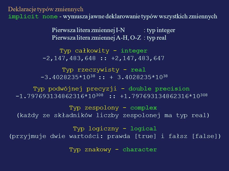 Deklaracje typów zmiennych implicit none - wymusza jawne deklarowanie typów wszystkich zmiennych Pierwsza litera zmiennej I-N : typ integer Pierwsza l