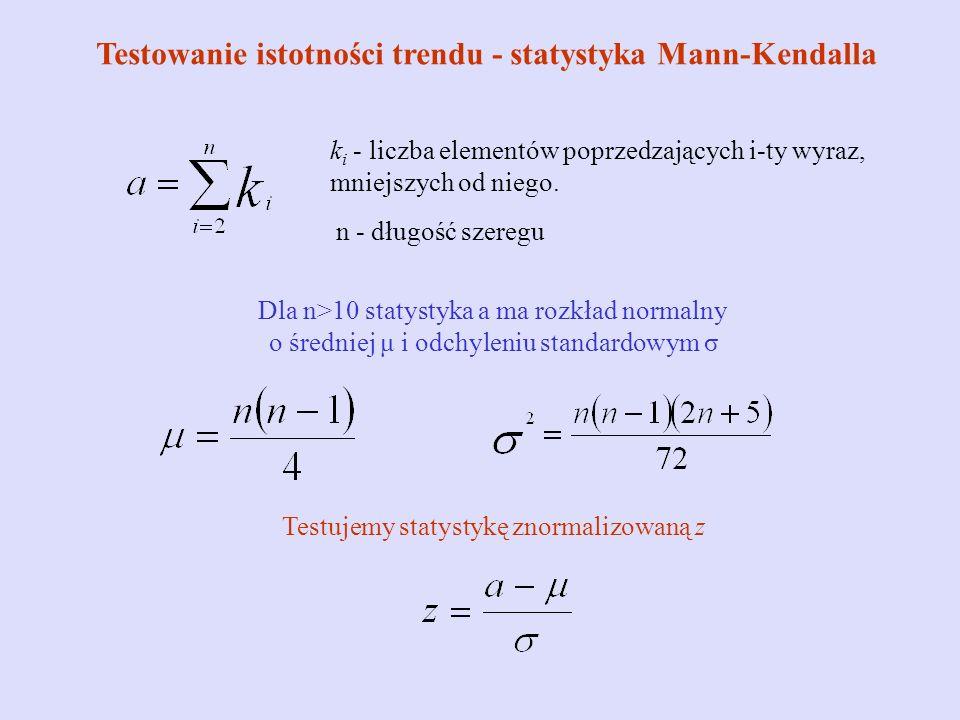 Testowanie istotności trendu - statystyka Mann-Kendalla k i - liczba elementów poprzedzających i-ty wyraz, mniejszych od niego. n - długość szeregu Dl