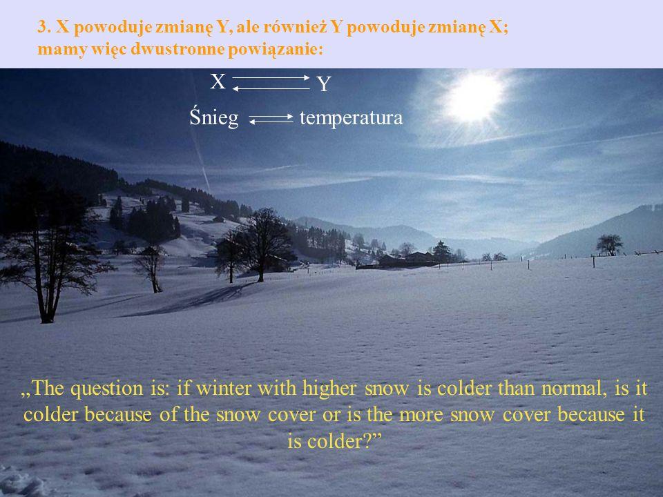 3. X powoduje zmianę Y, ale również Y powoduje zmianę X; mamy więc dwustronne powiązanie: X Y Śniegtemperatura The question is: if winter with higher