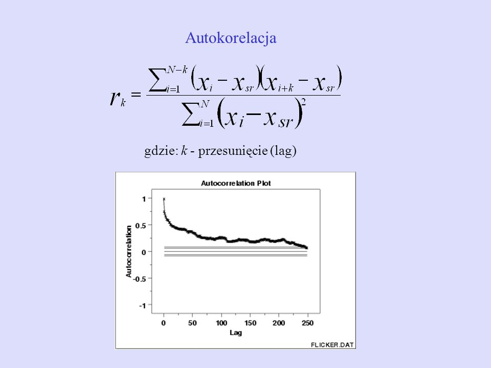 Autokorelacja gdzie: k - przesunięcie (lag)