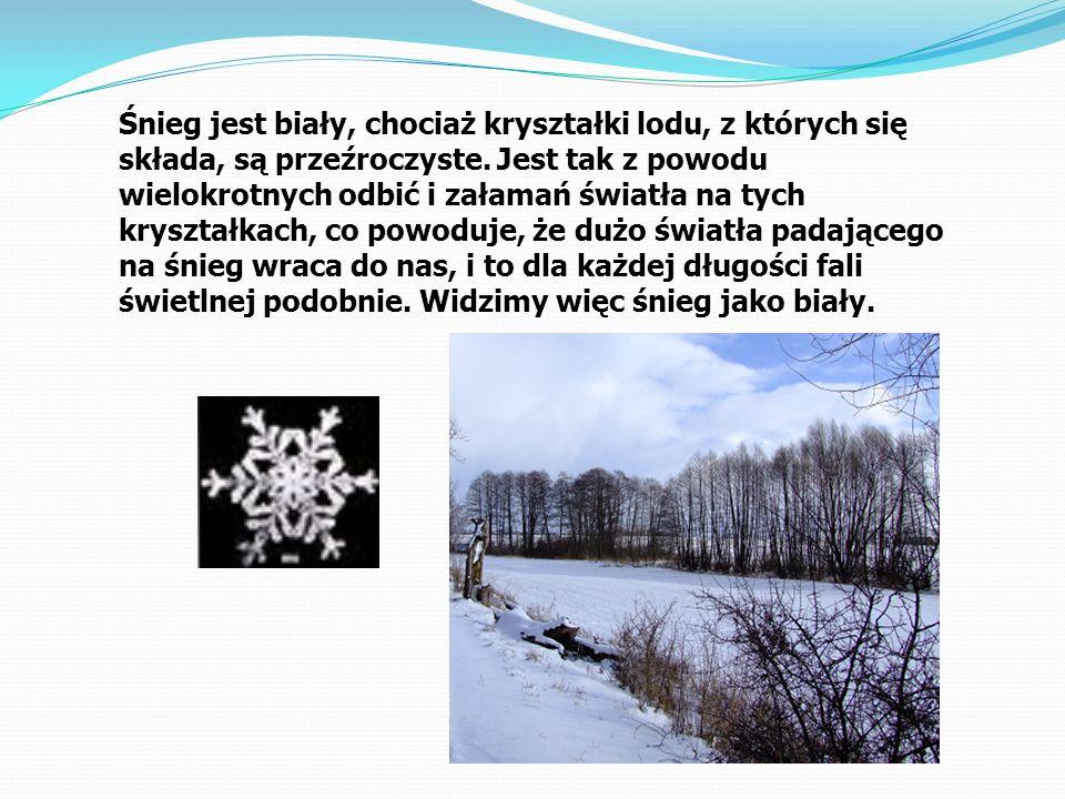 Śnieg jest biały, chociaż kryształki lodu, z których się składa, są przeźroczyste. Jest tak z powodu wielokrotnych odbić i załamań światła na tych kry