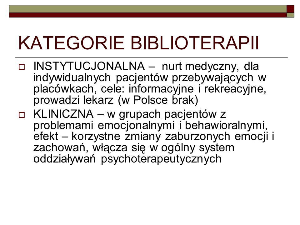 KATEGORIE BIBLIOTERAPII INSTYTUCJONALNA – nurt medyczny, dla indywidualnych pacjentów przebywających w placówkach, cele: informacyjne i rekreacyjne, p