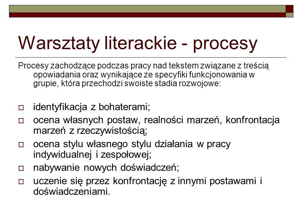 Warsztaty literackie - procesy Procesy zachodzące podczas pracy nad tekstem związane z treścią opowiadania oraz wynikające ze specyfiki funkcjonowania