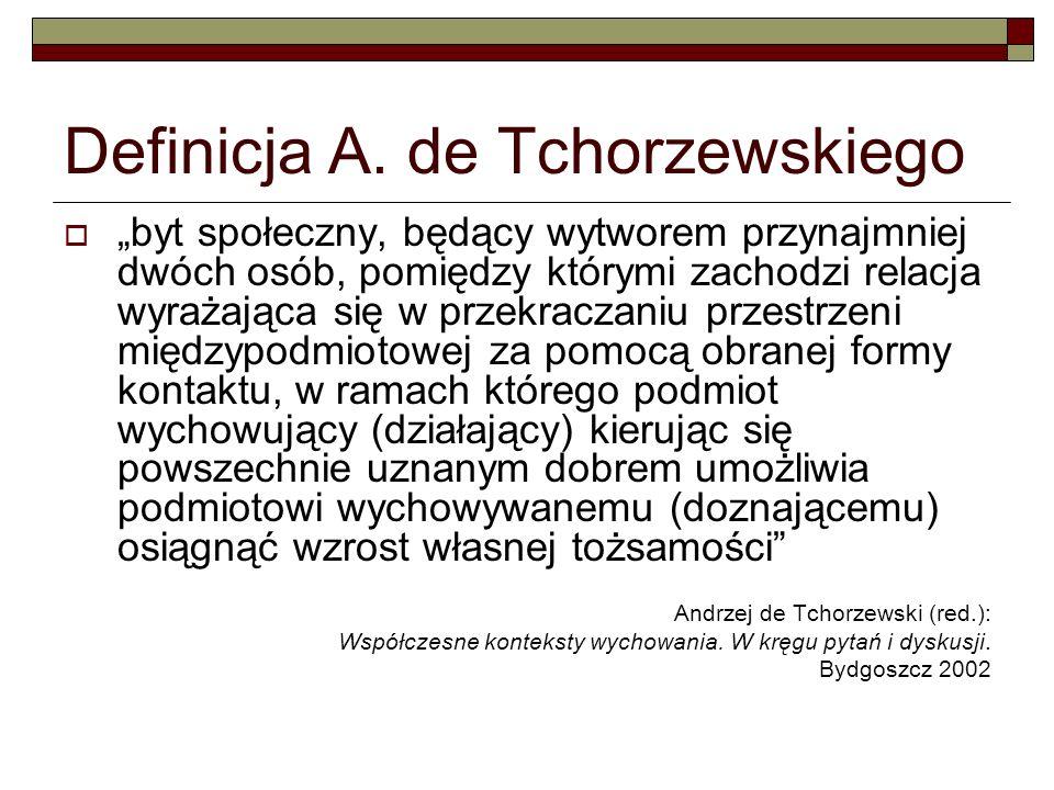Definicja A. de Tchorzewskiego byt społeczny, będący wytworem przynajmniej dwóch osób, pomiędzy którymi zachodzi relacja wyrażająca się w przekraczani