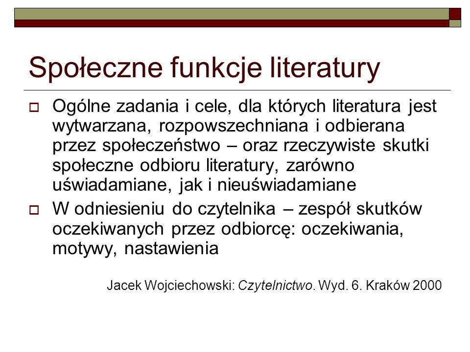 Społeczne funkcje literatury Ogólne zadania i cele, dla których literatura jest wytwarzana, rozpowszechniana i odbierana przez społeczeństwo – oraz rz