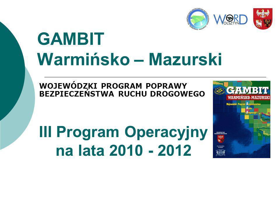 III Program Operacyjny na lata 2010 - 2012 STRATEGIA Obszary działań Budowa struktur zajmujących się brd w województwie, Edukacja i komunikacja ze społeczeństwem, Nadzór i kontrola ruchu drogowego, Infrastruktura drogowa, Ratownictwo drogowe.