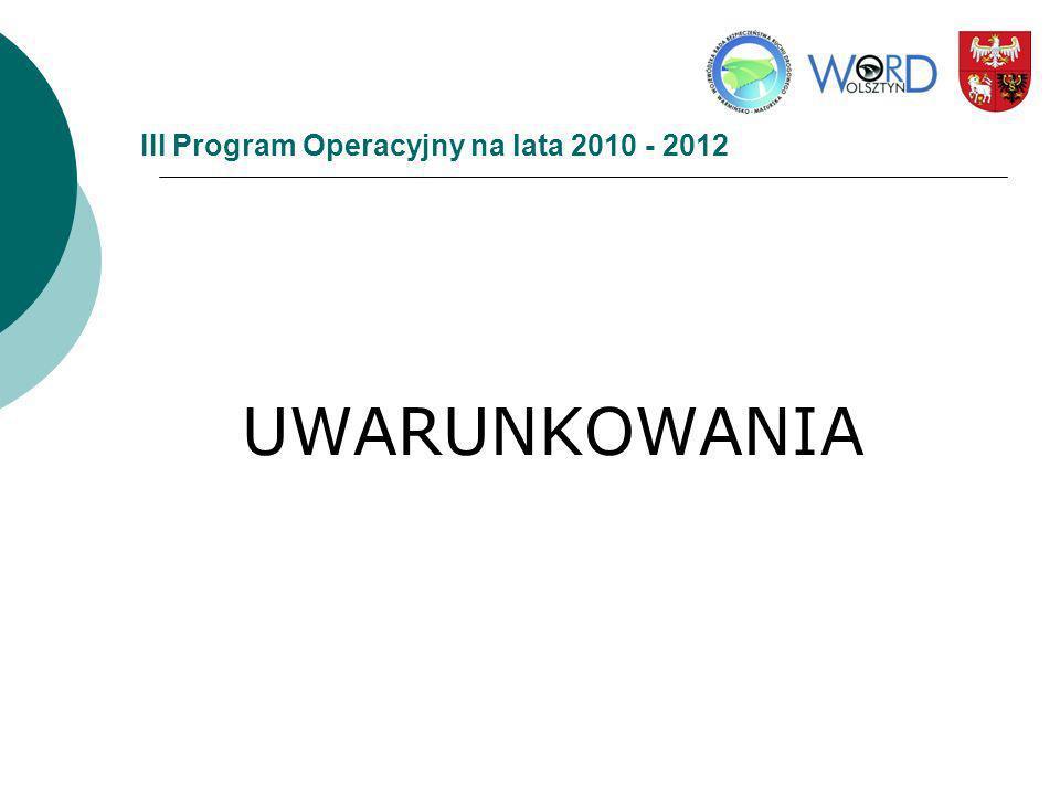 III Program Operacyjny na lata 2010 - 2012 UWARUNKOWANIA