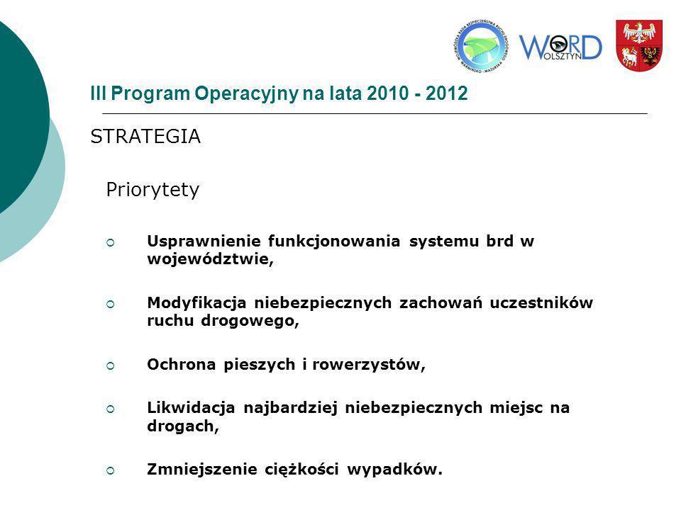 III Program Operacyjny na lata 2010 - 2012 STRATEGIA Priorytety Usprawnienie funkcjonowania systemu brd w województwie, Modyfikacja niebezpiecznych za