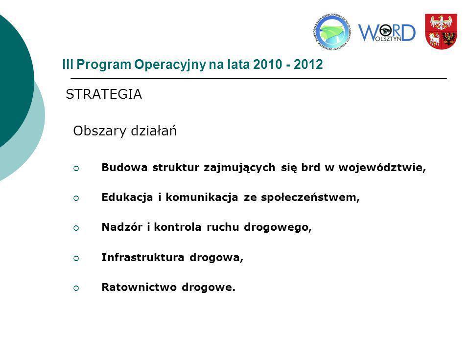 III Program Operacyjny na lata 2010 - 2012 STRATEGIA Obszary działań Budowa struktur zajmujących się brd w województwie, Edukacja i komunikacja ze spo