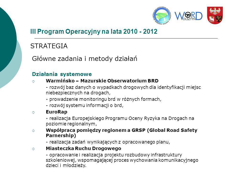 III Program Operacyjny na lata 2010 - 2012 STRATEGIA Główne zadania i metody działań Działania systemowe Warmińsko – Mazurskie Obserwatorium BRD - roz