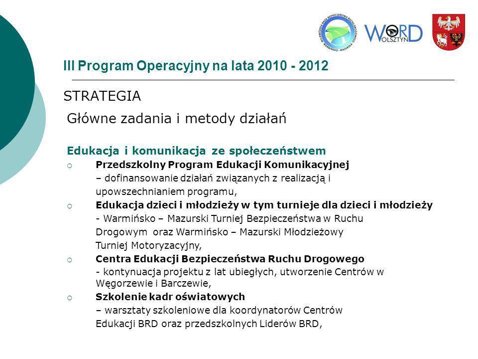 III Program Operacyjny na lata 2010 - 2012 STRATEGIA Główne zadania i metody działań Edukacja i komunikacja ze społeczeństwem Przedszkolny Program Edu