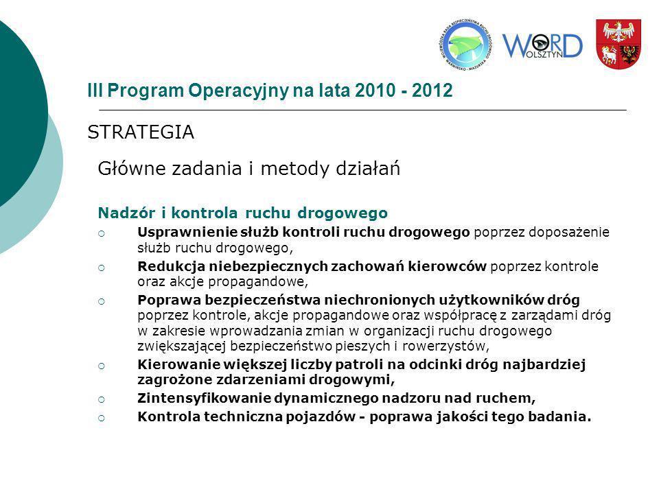 III Program Operacyjny na lata 2010 - 2012 STRATEGIA Główne zadania i metody działań Nadzór i kontrola ruchu drogowego Usprawnienie służb kontroli ruc