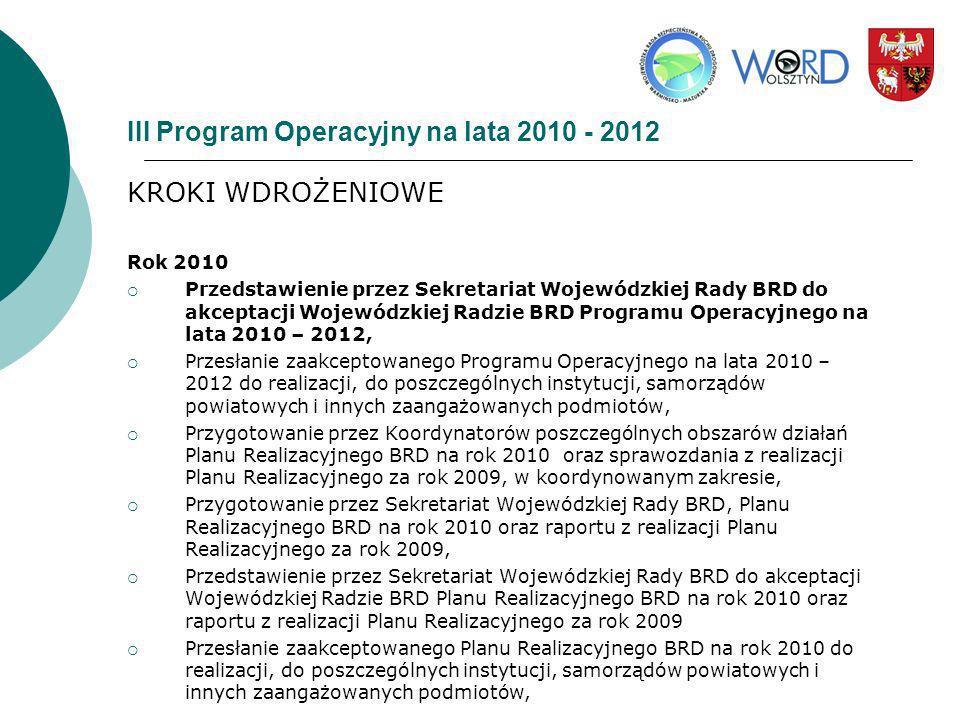 III Program Operacyjny na lata 2010 - 2012 KROKI WDROŻENIOWE Rok 2010 Przedstawienie przez Sekretariat Wojewódzkiej Rady BRD do akceptacji Wojewódzkie