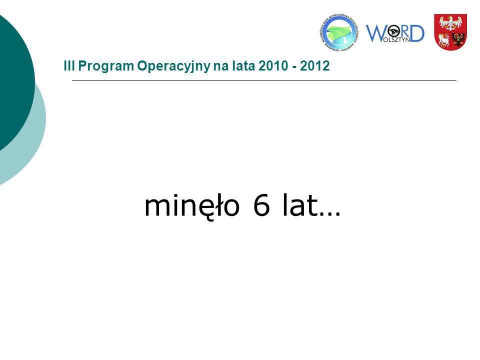 III Program Operacyjny na lata 2010 - 2012 minęło 6 lat…
