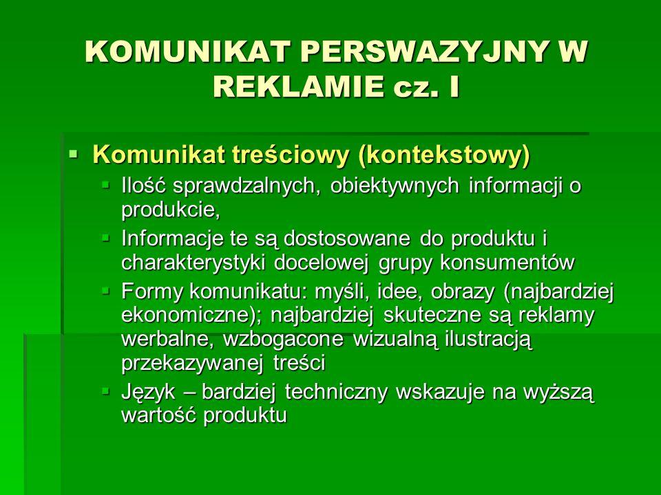 KOMUNIKAT PERSWAZYJNY W REKLAMIE cz. I Komunikat treściowy (kontekstowy) Komunikat treściowy (kontekstowy) Ilość sprawdzalnych, obiektywnych informacj