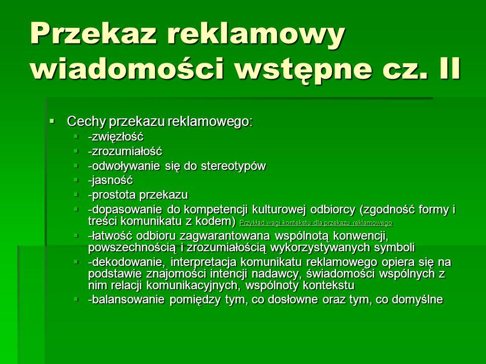 KOMUNIKAT PERSWAZYJNY W REKLAMIE cz.