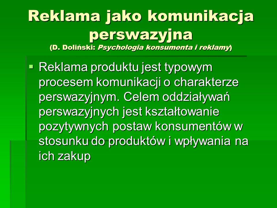 Reklama jako komunikacja perswazyjna (D. Doliński: Psychologia konsumenta i reklamy) Reklama produktu jest typowym procesem komunikacji o charakterze