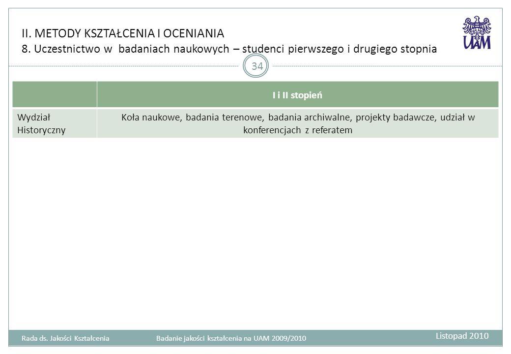 II. METODY KSZTAŁCENIA I OCENIANIA 8.