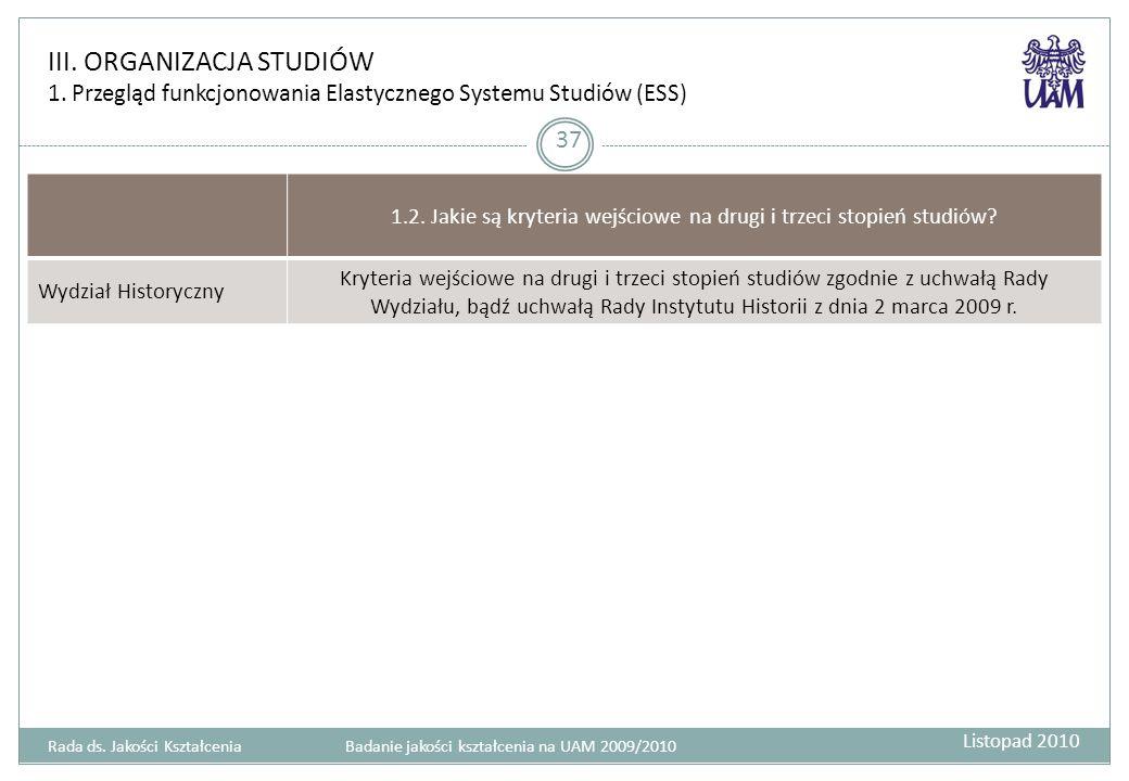 III.ORGANIZACJA STUDIÓW 1. Przegląd funkcjonowania Elastycznego Systemu Studiów (ESS) 37 1.2.