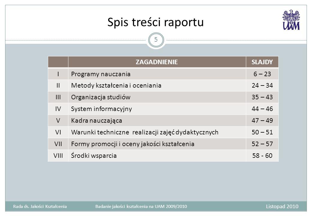Spis treści raportu ZAGADNIENIESLAJDY IProgramy nauczania6 – 23 IIMetody kształcenia i oceniania24 – 34 IIIOrganizacja studiów35 – 43 IVSystem informa