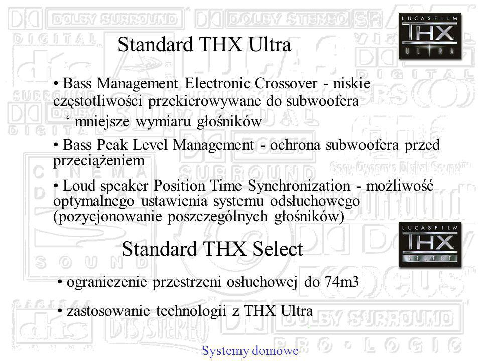 Systemy domowe Standard THX Ultra Bass Management Electronic Crossover - niskie częstotliwości przekierowywane do subwoofera mniejsze wymiaru głośników Bass Peak Level Management - ochrona subwoofera przed przeciążeniem Loud speaker Position Time Synchronization - możliwość optymalnego ustawienia systemu odsłuchowego (pozycjonowanie poszczególnych głośników) Standard THX Select ograniczenie przestrzeni osłuchowej do 74m3 zastosowanie technologii z THX Ultra