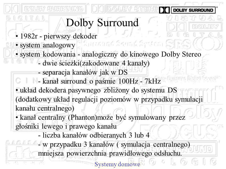 Dolby Surround Systemy domowe 1982r - pierwszy dekoder system analogowy system kodowania - analogiczny do kinowego Dolby Stereo - dwie ścieżki(zakodowane 4 kanały) - separacja kanałów jak w DS - kanał surround o paśmie 100Hz - 7kHz układ dekodera pasywnego zbliżony do systemu DS (dodatkowy układ regulacji poziomów w przypadku symulacji kanału centralnego) kanał centralny (Phanton)może być symulowany przez głośniki lewego i prawego kanału - liczba kanałów odbieranych 3 lub 4 - w przypadku 3 kanałów ( symulacja centralnego) mniejsza powierzchnia prawidłowego odsłuchu.