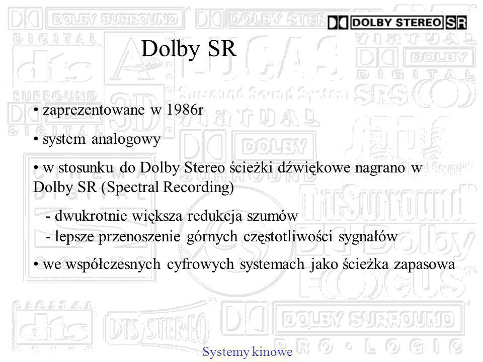 Dolby SR Systemy kinowe zaprezentowane w 1986r system analogowy w stosunku do Dolby Stereo ścieżki dźwiękowe nagrano w Dolby SR (Spectral Recording) - dwukrotnie większa redukcja szumów - lepsze przenoszenie górnych częstotliwości sygnałów we współczesnych cyfrowych systemach jako ścieżka zapasowa