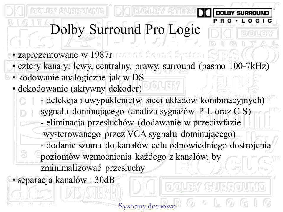 Dolby Surround Pro Logic Systemy domowe zaprezentowane w 1987r cztery kanały: lewy, centralny, prawy, surround (pasmo 100-7kHz) kodowanie analogiczne jak w DS dekodowanie (aktywny dekoder) - detekcja i uwypuklenie(w sieci układów kombinacyjnych) sygnału dominującego (analiza sygnałów P-L oraz C-S) - eliminacja przesłuchów (dodawanie w przeciwfazie wysterowanego przez VCA sygnału dominującego) - dodanie szumu do kanałów celu odpowiedniego dostrojenia poziomów wzmocnienia każdego z kanałów, by zminimalizować przesłuchy separacja kanałów : 30dB