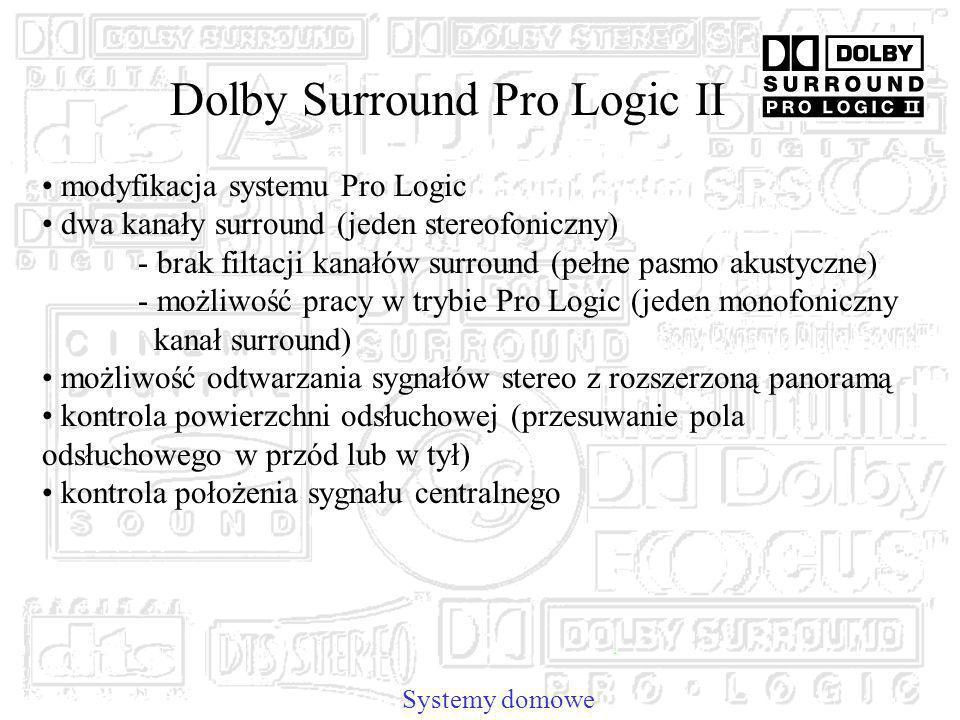 Dolby Surround Pro Logic II Systemy domowe modyfikacja systemu Pro Logic dwa kanały surround (jeden stereofoniczny) - brak filtacji kanałów surround (pełne pasmo akustyczne) - możliwość pracy w trybie Pro Logic (jeden monofoniczny kanał surround) możliwość odtwarzania sygnałów stereo z rozszerzoną panoramą kontrola powierzchni odsłuchowej (przesuwanie pola odsłuchowego w przód lub w tył) kontrola położenia sygnału centralnego