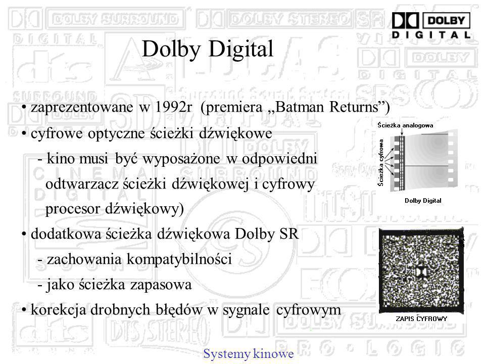 Dolby Digital Systemy kinowe zaprezentowane w 1992r (premiera Batman Returns) cyfrowe optyczne ścieżki dźwiękowe - kino musi być wyposażone w odpowiedni odtwarzacz ścieżki dźwiękowej i cyfrowy procesor dźwiękowy) dodatkowa ścieżka dźwiękowa Dolby SR - zachowania kompatybilności - jako ścieżka zapasowa korekcja drobnych błędów w sygnale cyfrowym