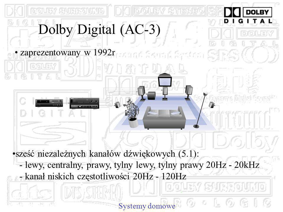 Dolby Digital (AC-3) sześć niezależnych kanałów dźwiękowych (5.1): - lewy, centralny, prawy, tylny lewy, tylny prawy 20Hz - 20kHz - kanał niskich częstotliwości 20Hz - 120Hz Systemy domowe zaprezentowany w 1992r