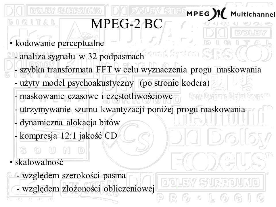 MPEG-2 BC kodowanie perceptualne - analiza sygnału w 32 podpasmach - szybka transformata FFT w celu wyznaczenia progu maskowania - użyty model psychoakustyczny (po stronie kodera) - maskowanie czasowe i częstotliwościowe - utrzymywanie szumu kwantyzacji poniżej progu maskowania - dynamiczna alokacja bitów - kompresja 12:1 jakość CD skalowalność - względem szerokości pasma - względem złożoności obliczeniowej