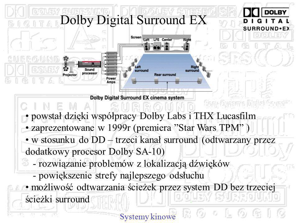 Dolby Digital Surround EX Systemy kinowe powstał dzięki współpracy Dolby Labs i THX Lucasfilm zaprezentowane w 1999r (premiera Star Wars TPM ) w stosunku do DD – trzeci kanał surround (odtwarzany przez dodatkowy procesor Dolby SA-10) - rozwiązanie problemów z lokalizacją dźwięków - powiększenie strefy najlepszego odsłuchu możliwość odtwarzania ścieżek przez system DD bez trzeciej ścieżki surround