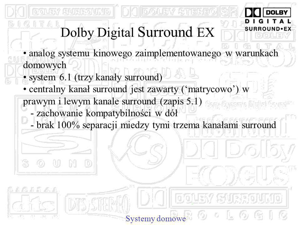 Dolby Digital Surround EX analog systemu kinowego zaimplementowanego w warunkach domowych system 6.1 (trzy kanały surround) centralny kanał surround jest zawarty (matrycowo) w prawym i lewym kanale surround (zapis 5.1) - zachowanie kompatybilności w dół - brak 100% separacji miedzy tymi trzema kanałami surround Systemy domowe