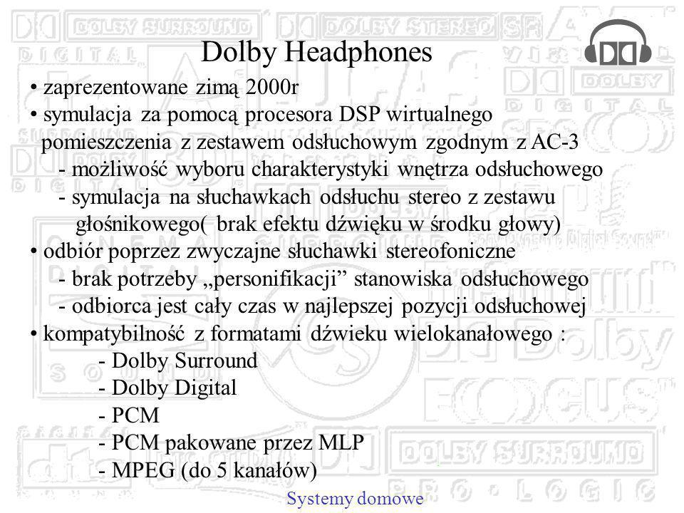 Dolby Headphones zaprezentowane zimą 2000r symulacja za pomocą procesora DSP wirtualnego pomieszczenia z zestawem odsłuchowym zgodnym z AC-3 - możliwość wyboru charakterystyki wnętrza odsłuchowego - symulacja na słuchawkach odsłuchu stereo z zestawu głośnikowego( brak efektu dźwięku w środku głowy) odbiór poprzez zwyczajne słuchawki stereofoniczne - brak potrzeby personifikacji stanowiska odsłuchowego - odbiorca jest cały czas w najlepszej pozycji odsłuchowej kompatybilność z formatami dźwieku wielokanałowego : - Dolby Surround - Dolby Digital - PCM - PCM pakowane przez MLP - MPEG (do 5 kanałów) Systemy domowe