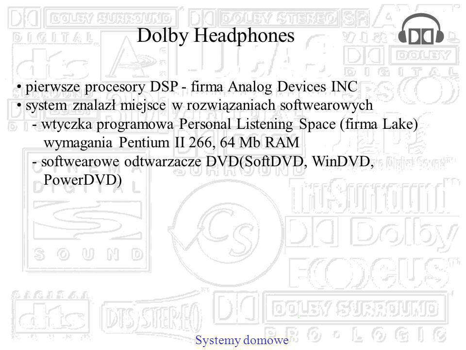 pierwsze procesory DSP - firma Analog Devices INC system znalazł miejsce w rozwiązaniach softwearowych - wtyczka programowa Personal Listening Space (firma Lake) wymagania Pentium II 266, 64 Mb RAM - softwearowe odtwarzacze DVD(SoftDVD, WinDVD, PowerDVD) Systemy domowe Dolby Headphones