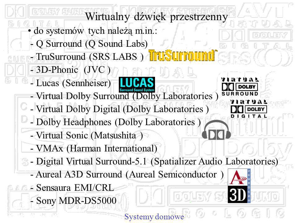 Systemy domowe Wirtualny dźwięk przestrzenny do systemów tych należą m.in.: - Q Surround (Q Sound Labs) - TruSurround (SRS LABS ) - 3D-Phonic (JVC ) - Lucas (Sennheiser) - Virtual Dolby Surround (Dolby Laboratories ) - Virtual Dolby Digital (Dolby Laboratories ) - Dolby Headphones (Dolby Laboratories ) - Virtual Sonic (Matsushita ) - VMAx (Harman International) - Digital Virtual Surround-5.1 (Spatializer Audio Laboratories) - Aureal A3D Surround (Aureal Semiconductor ) - Sensaura EMI/CRL - Sony MDR-DS5000