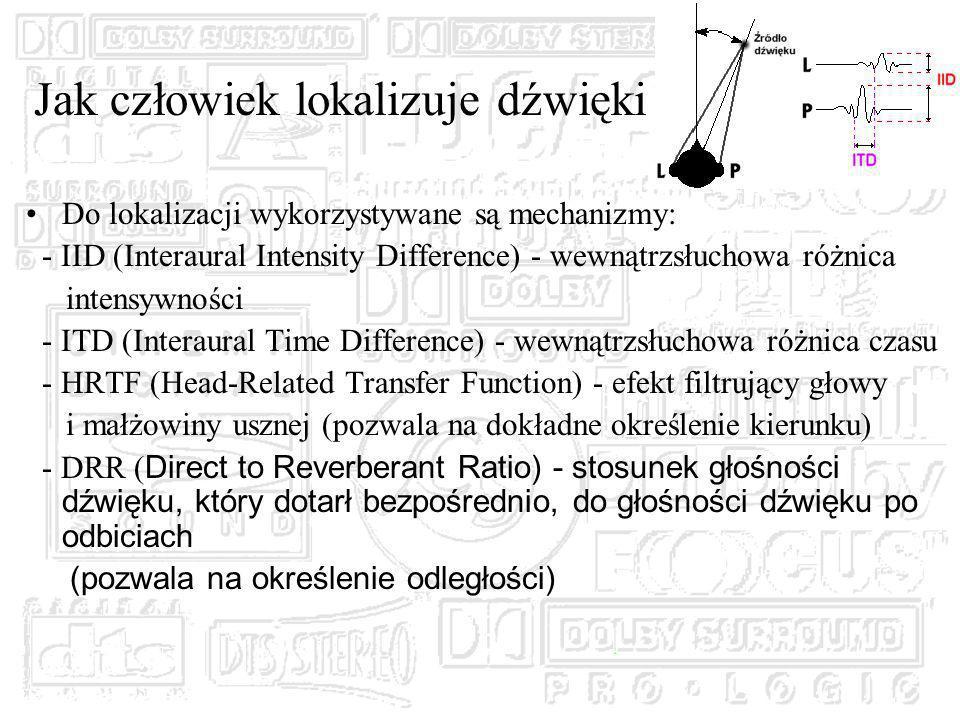 Do lokalizacji wykorzystywane są mechanizmy: - IID (Interaural Intensity Difference) - wewnątrzsłuchowa różnica intensywności - ITD (Interaural Time Difference) - wewnątrzsłuchowa różnica czasu - HRTF (Head-Related Transfer Function) - efekt filtrujący głowy i małżowiny usznej (pozwala na dokładne określenie kierunku) - DRR ( Direct to Reverberant Ratio) - stosunek głośności dźwięku, który dotarł bezpośrednio, do głośności dźwięku po odbiciach (pozwala na określenie odległości) Jak człowiek lokalizuje dźwięki