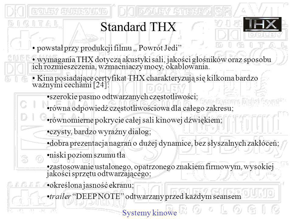 Standard THX powstał przy produkcji filmu Powrót Jedi wymagania THX dotyczą akustyki sali, jakości głośników oraz sposobu ich rozmieszczenia, wzmacniaczy mocy, okablowania.