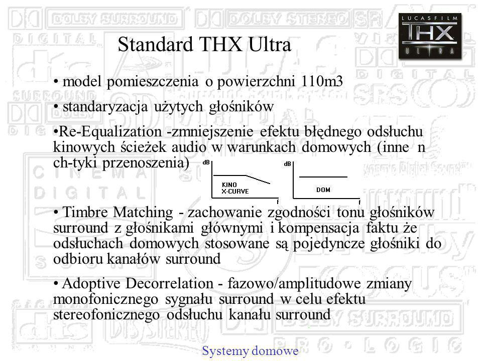 Systemy domowe Standard THX Ultra model pomieszczenia o powierzchni 110m3 standaryzacja użytych głośników Re-Equalization -zmniejszenie efektu błędnego odsłuchu kinowych ścieżek audio w warunkach domowych (inne n ch-tyki przenoszenia) Timbre Matching - zachowanie zgodności tonu głośników surround z głośnikami głównymi i kompensacja faktu że odsłuchach domowych stosowane są pojedyncze głośniki do odbioru kanałów surround Adoptive Decorrelation - fazowo/amplitudowe zmiany monofonicznego sygnału surround w celu efektu stereofonicznego odsłuchu kanału surround